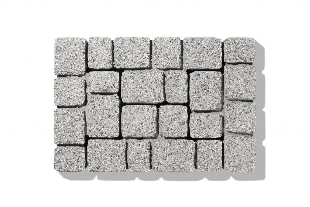 cube zum pflastern in granit-grau