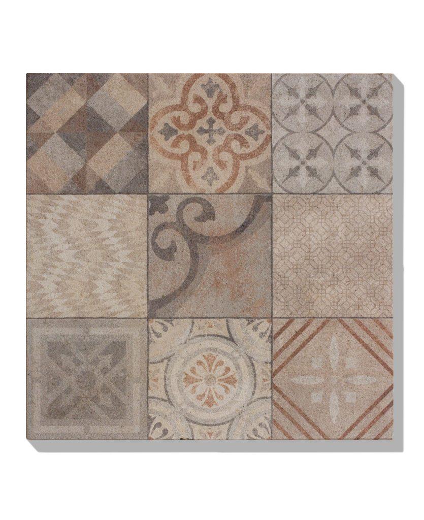 platte bestehend aus 9 verschiedenen Muster in farbe braun