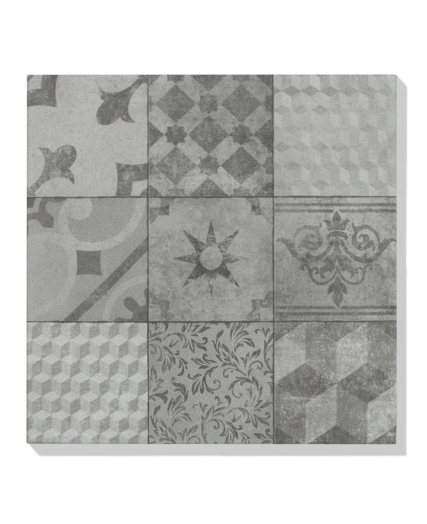 terrassenplatte bestehend aus 9 verschiedenen Muster in grau