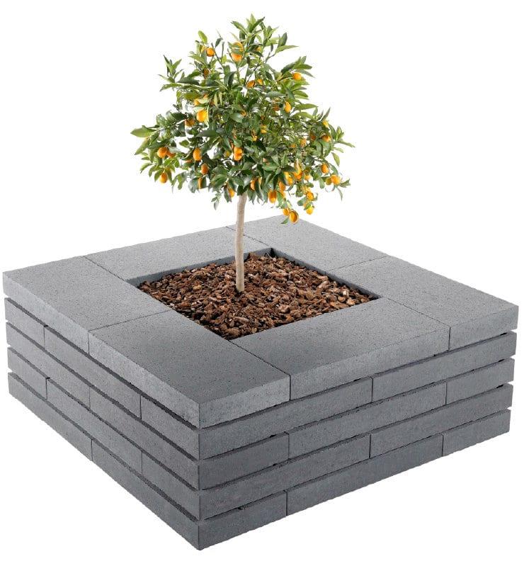 moodul steine als sitzbank um einen kleinen baum
