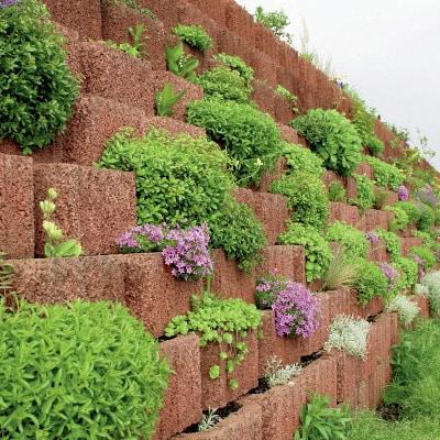 pflanzenringe aufeinander gestellt zu einer wand befüllt mit pflanzen